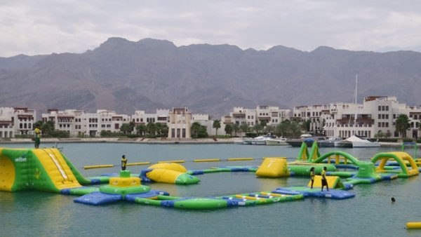 Floating waterpark in Jebel Sifah